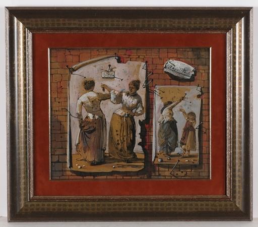 "Eugene Gustavovitch BERMAN - Drawing-Watercolor - Quod-Libet ""Napolitana"", 1949"