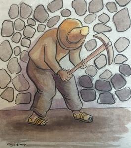Diego RIVERA - Drawing-Watercolor - El Picapedrero