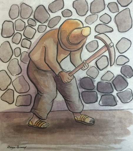 Diego RIVERA - Drawing-Watercolor - El Picapedrero