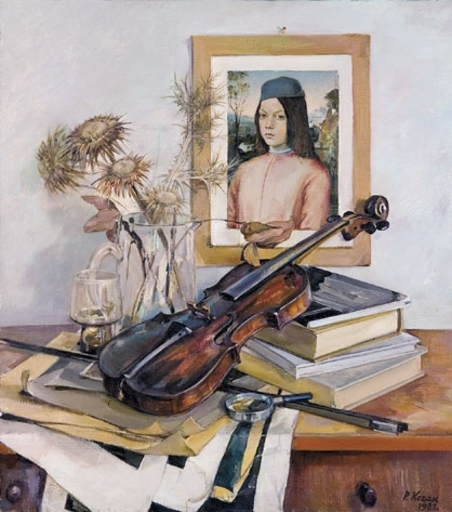 Rakhil Veniaminovna KOGAN - Painting - Still life with Violin