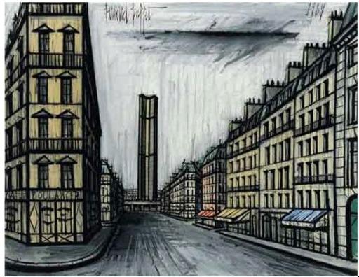 Bernard BUFFET - Peinture - Rue de Rennes et la tour Montparnasse