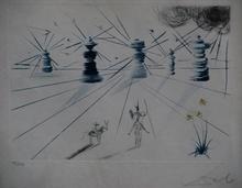 Salvador DALI - Estampe-Multiple - Don Quichotte et les Moulins a vent