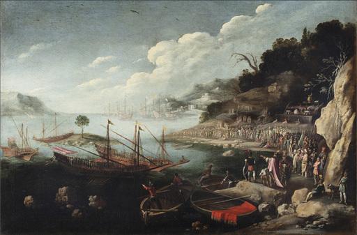 Filippo D'ANGELI - Painting - Paesaggio marino con flotta di imbarcazione