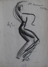 Jean TOTH - Dibujo Acuarela - DESSIN AU FUSAIN SIGNÉ À LA MAIN HANDSIGNED CHARCOAL DRAWING