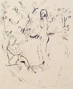 Erich HECKEL - Drawing-Watercolor - Zwei Mädchen