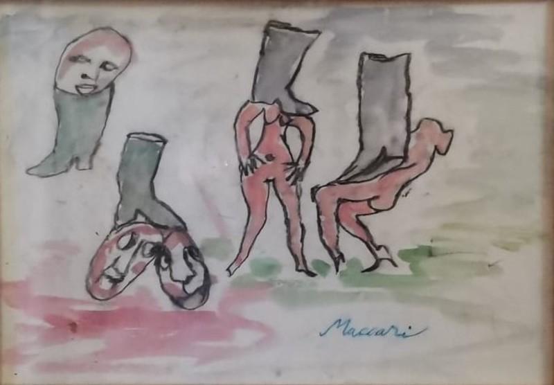 Mino MACCARI - 绘画 - Gli stivali
