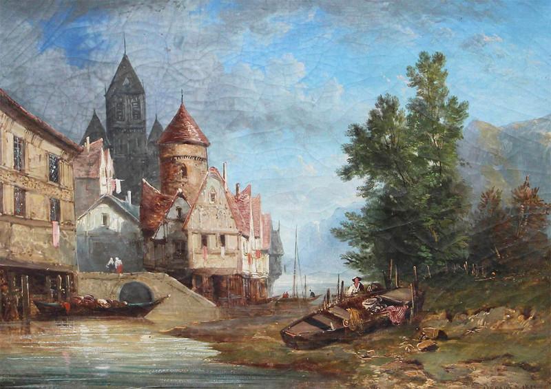 Alexandre DEFAUX - Painting - Paysage romantique