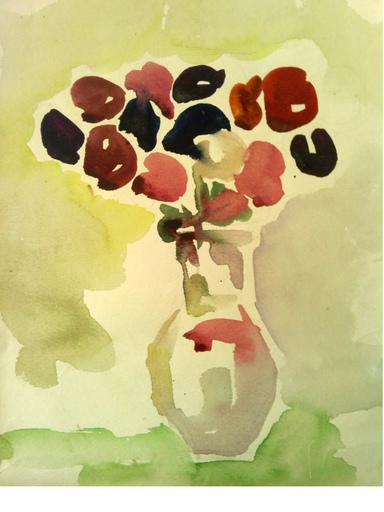 """Galina VINDALOVSKAIA - Drawing-Watercolor - """"Flowers in vase"""""""