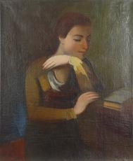 Georg MERKEL - Painting - Reading