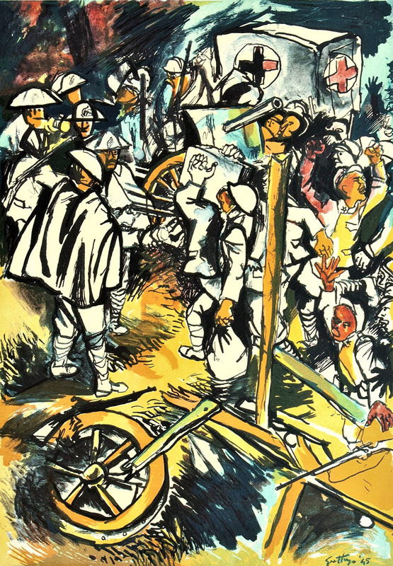 Renato GUTTUSO - 版画 - Renato GUTTUSO - Addio alle Armi Omaggio a Hemingway_1