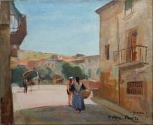 Pierre FAVRE - Pintura - Une rue de Gerona (Catalogne)