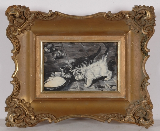 "Hans BERTLE - Painting - ""Kittens"", 1897, Early Work !"