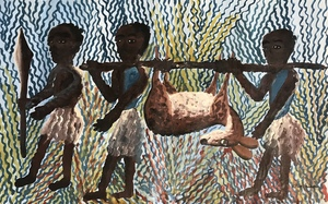 Kabinda Kunkulu VICTOR - Pintura - Retour de chasse