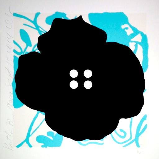 Donald SULTAN - Print-Multiple - Button Flower Aqua