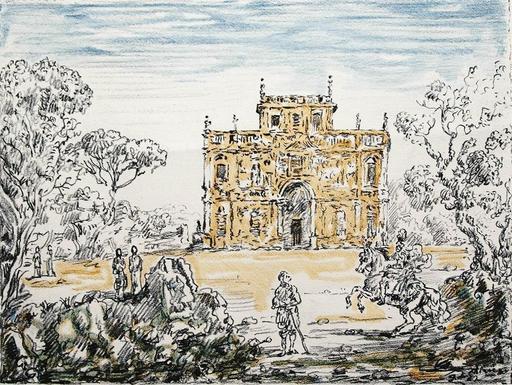 Giorgio DE CHIRICO - Grabado - Antichi Cavalieri e Villa, 1954