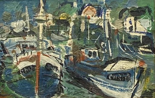 Marc BOUTEAU - Painting - Chalutiers à quai