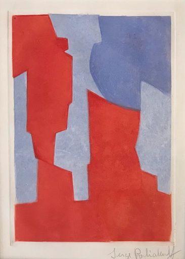 Serge POLIAKOFF - Print-Multiple - Composition rouge et bleue N° XX