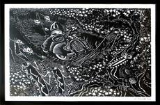 Hervé DI ROSA - Print-Multiple - En Traversant le Pont - Noir
