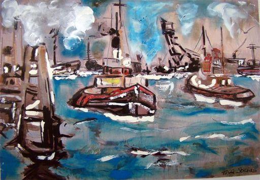 Albert SOCIAS - Painting - Le Port de Barcelone