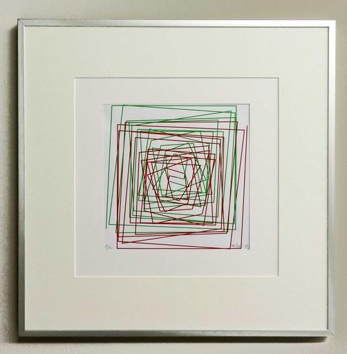 Véra MOLNAR - Zeichnung Aquarell - Ligne brisée et évoluant en spiral 1