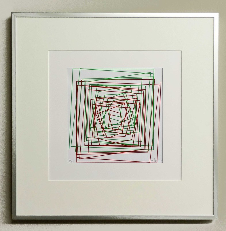 Véra MOLNAR - Drawing-Watercolor - Ligne brisée et évoluant en spiral 1