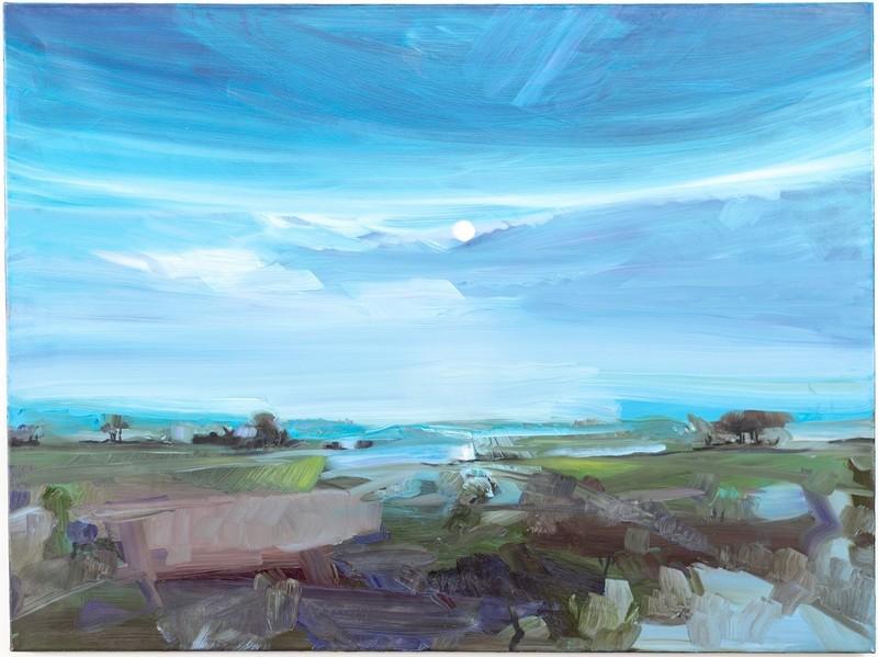 Simon ANDREW - Painting - Moon Rise Across Lake