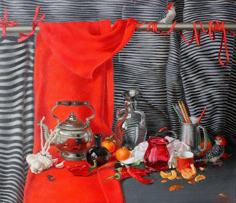 Tatjana PALCUKA - Painting - Rainbow Red    (Cat N° 6672)