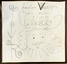 Pablo PICASSO - Drawing-Watercolor - Tete du Mousquetaire