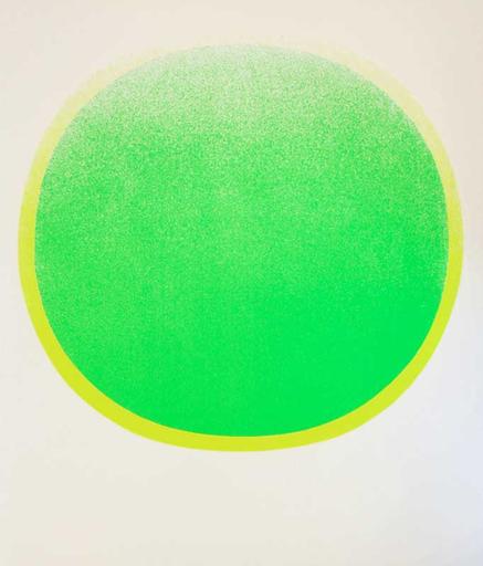 Rupprecht GEIGER - Estampe-Multiple - grüner Kreis mit gelben Kranz auf weiß
