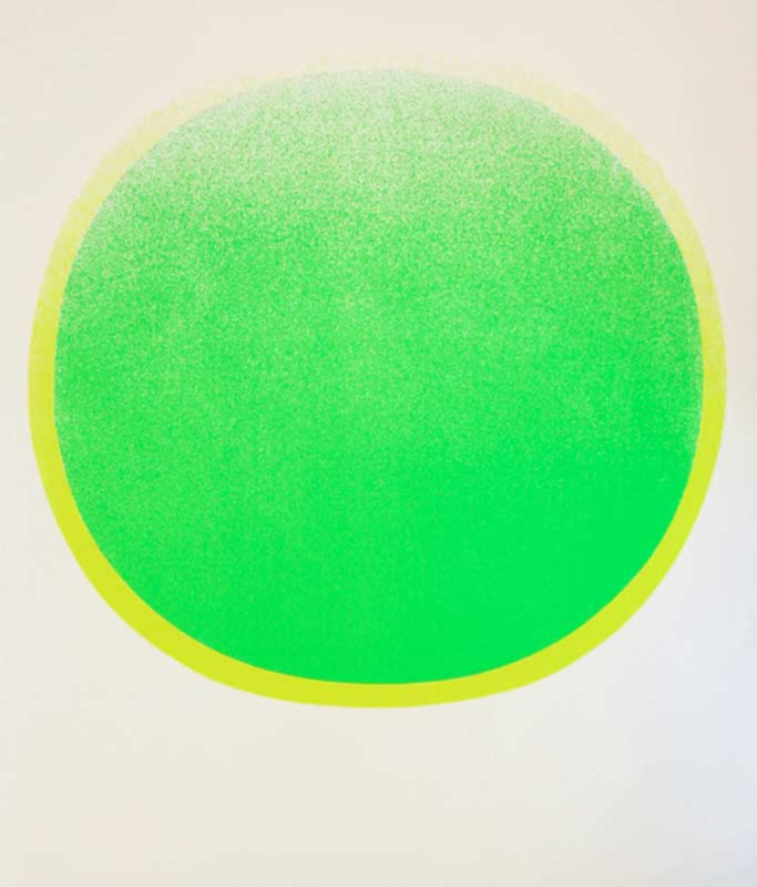 Rupprecht GEIGER - Grabado - grüner Kreis mit gelben Kranz auf weiß