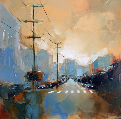 Daniel CASTAN - Painting - San Francisco morning
