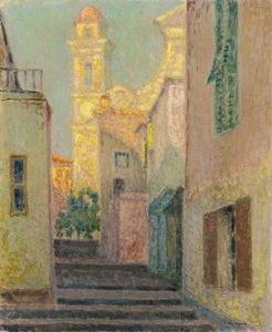 Henri LE SIDANER - Pittura - La rue de l'eglise, Villefranche-sur-Mer