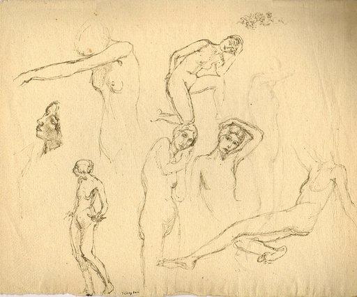 Edmond Charles KAYSER - Drawing-Watercolor - Aktstudien / Nude studies / Études de nues