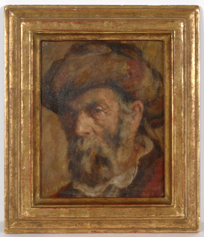 """Wilhelm BECKMANN - Painting - """"Portrait of a jew"""" oil on panel"""