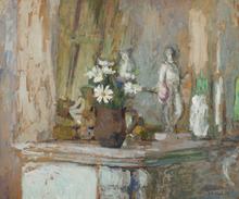 爱德华•(让) •维亚尔 - 绘画 - Marguerites et statuettes sur la cheminée