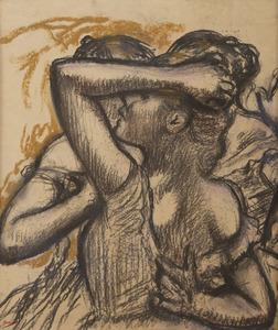 Edgar DEGAS - Dessin-Aquarelle - Trois danseuses en buste