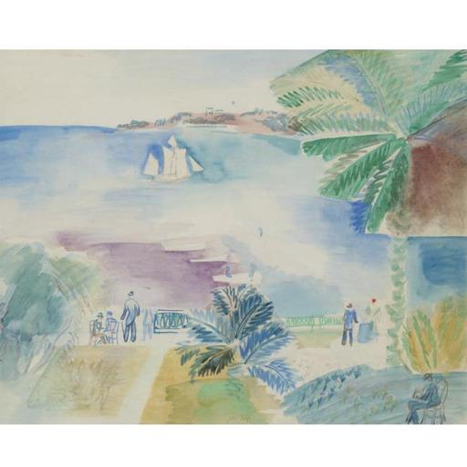 Jean DUFY - Dibujo Acuarela - Baie de Ville Franche-sur-mer