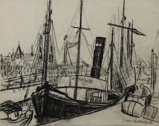 "Edith CAMPENDONK-VAN LECKWYCK - Disegno Acquarello - ""Harbour Scene"" by Edith Campendonk-van Leckwyck, ca 1925"