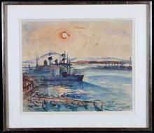 Emile Othon FRIESZ - Drawing-Watercolor - Cargos au Port de Toulon