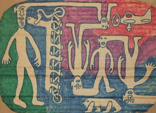 "Yvon TAILLANDIER - Zeichnung Aquarell - ""En vélo ou en avion"" (2) Double Face"