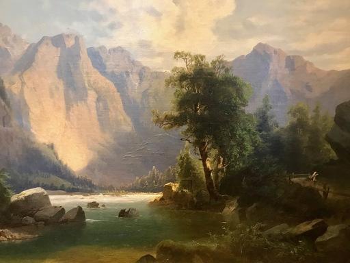 Albert BIERSTADT - Gemälde - Gebirgslandschaft mit Fluß