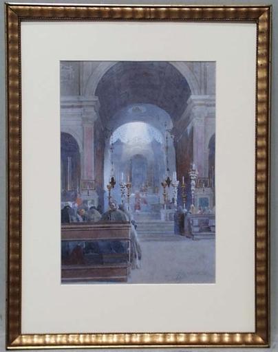 """Domenico DE BALLARINI - Dessin-Aquarelle - """"Church Service"""", Watercolour, late 19th Century"""