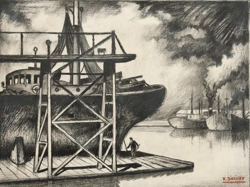 "Raymond DIERICKX - Drawing-Watercolor - ""RADOUB I"""