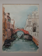 Karl HAGEDORN - Drawing-Watercolor - Venice Canal, Italy