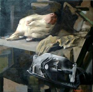 Christoff DEBUSSCHERE - Peinture - La tête de veau