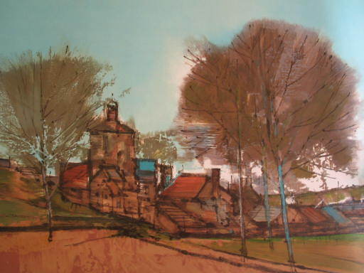 Jean BILLE - Estampe-Multiple - Le clocher du village,1970.