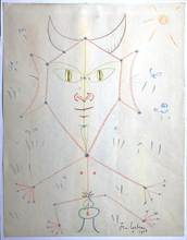 Jean COCTEAU - Drawing-Watercolor - Faune Assis