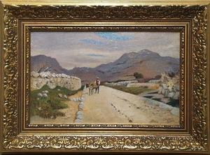 """Eugen ANKELEN - Pittura - """"Country Road in Dalmatia"""" by Eugen Ankelen, ca 1900"""