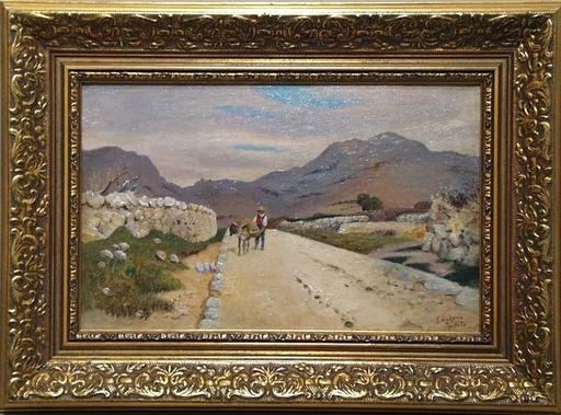 """Eugen ANKELEN - Peinture - """"Country Road in Dalmatia"""" by Eugen Ankelen, ca 1900"""