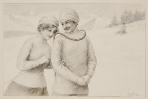 """Raimund VON WICHERA - Dessin-Aquarelle - """"Winter Pleasure"""" by Raimund Ritter von Wichera, ca 1900"""